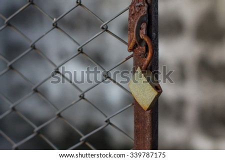 wire work and lock - stock photo