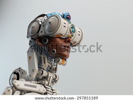Wired black man in robotic medic suit. Profile 3d render / Dragonfly II
