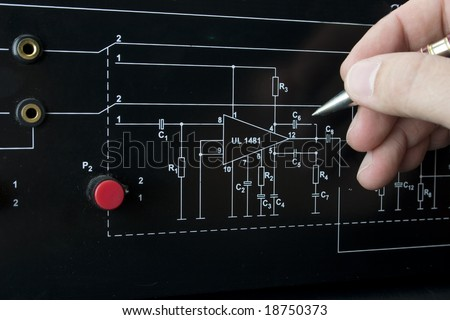 Wired. Electronic plate. - stock photo