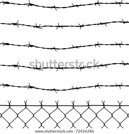 wired fence with barbed wires - stock photo
