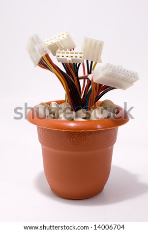 wired flower pot - stock photo