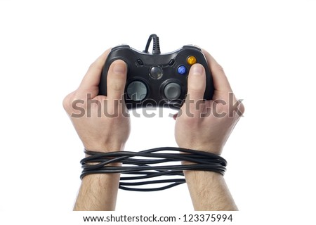 wired hands with joypad meaning videogame addiction