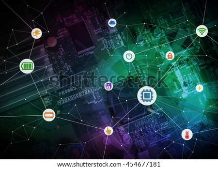 wired icons of various electric component or function and background of electric circuit board, abstract image visual - stock photo