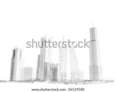 wired skyline background - stock photo