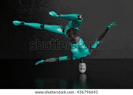 wired woman cyborg 3d illustration