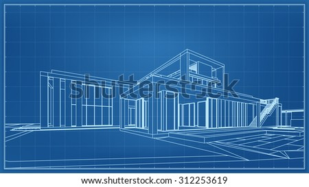 Wireframe blueprint drawing of 3D building. - stock photo