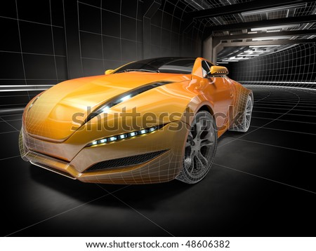 Wireframe car.  My own car design. - stock photo