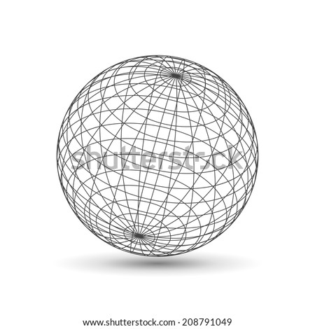 Wireframe globe icon, 3d version - stock photo