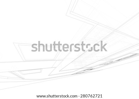 Wireframe perspective of 3D building. Abstract matrix wireframe space. - stock photo