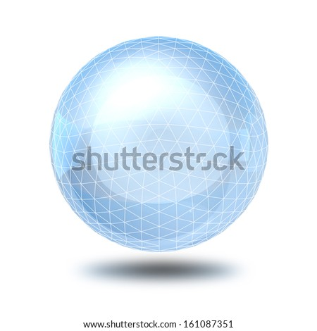 Wireframe sphere glass ball. 3d render