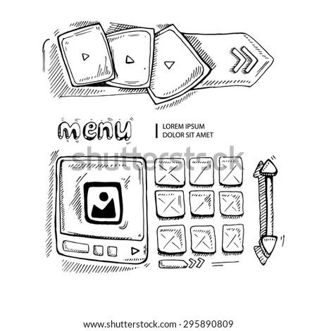 Wireframe UI Kit. Web design portfolio sketch elements isolate on white - stock photo