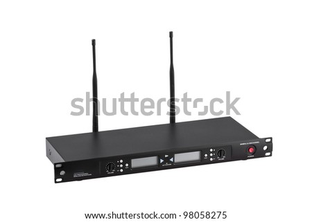 Wireless amplifier shows digital panel and antenna - stock photo