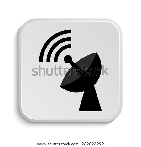 Wireless antenna icon. Internet button on white  background.  - stock photo