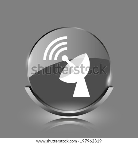 Wireless antenna icon. Shiny glossy internet button on grey background.  - stock photo