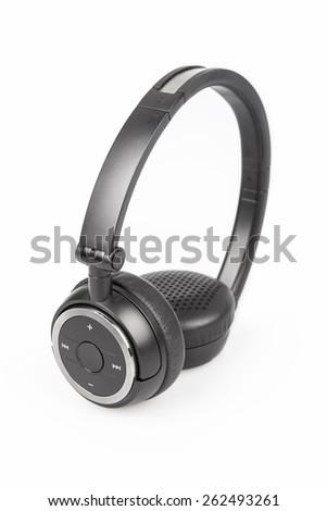 wireless bluetooth headphones isolated on white background - stock photo