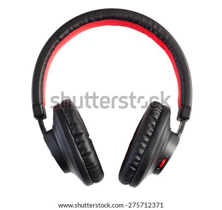Wireless bluetooth stylish headphones isolated on white. - stock photo
