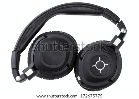 wireless bluetooth travel headphones isolated on white background