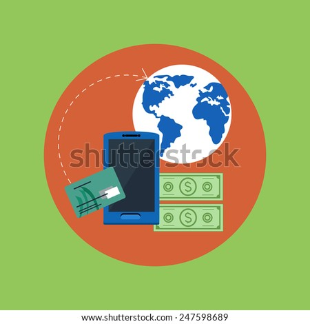 Wireless business mobile payment in flat style. Credit card and mobile phone with NFC. Raster version - stock photo
