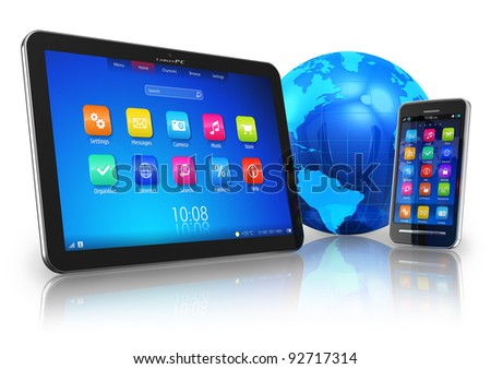 Wireless communication concept: tablet PC and touchscreen smartphone with blue Earth globe isolated on white reflective background - stock photo