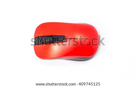 Wireless computer mouse red Isolated on white background.