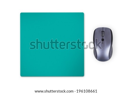 Wireless computer mouse with green pad, isolated on white background. - stock photo