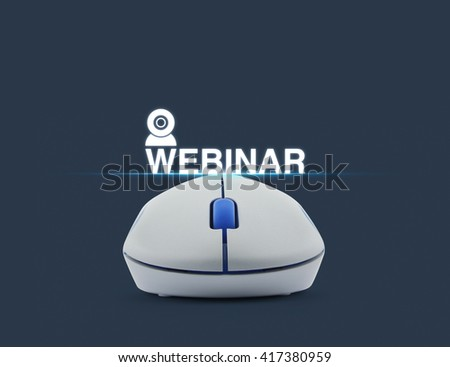 Wireless computer mouse with webinar icon over blue background, Seminar online concept - stock photo