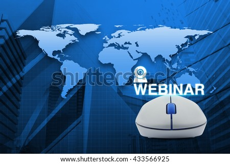 Wireless computer mouse with webinar icon over map and city tower background, Seminar online concept, Elements of this image furnished by NASA - stock photo