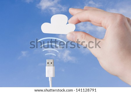 Wireless Contact with Cloud - stock photo
