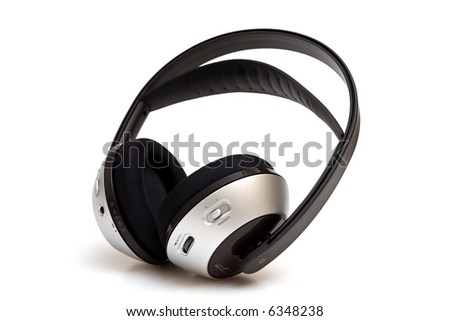 Wireless headphone isolated on white - stock photo