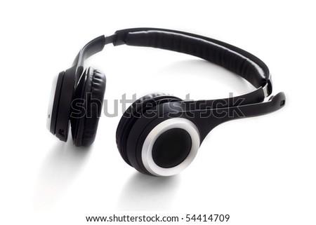 Wireless headphone set with microphone - stock photo