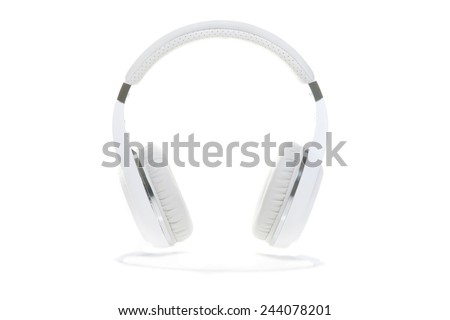 Wireless headphones isolated on a white background. bluetooth - stock photo