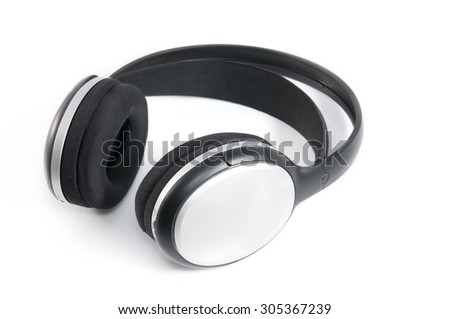 Wireless headphones isolated on white background. It has place for text.