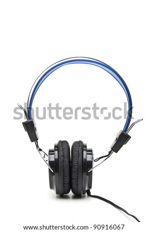 Wireless headphones isolated on white close up