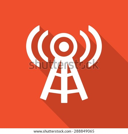 Wireless Icon with a long shadow - stock photo