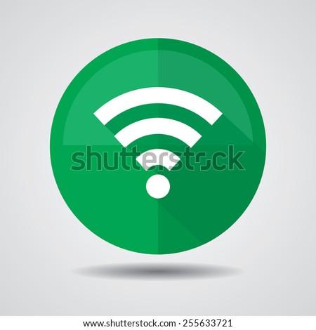 Wireless Icons Set, Wifi Sign, Wi-fi symbol, Wireless Network icon, Wifi zone On Green Color Circle. - stock photo