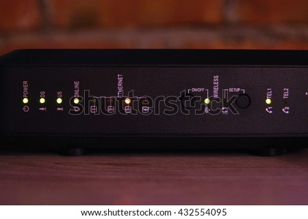 Wireless internet and cable television router. Home router. - stock photo