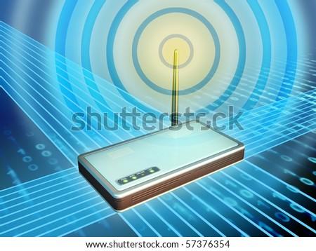 Wireless modem transmitting digital data. Digital illustration. - stock photo