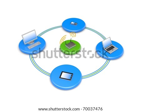Wireless network. Image contain clipping path - stock photo
