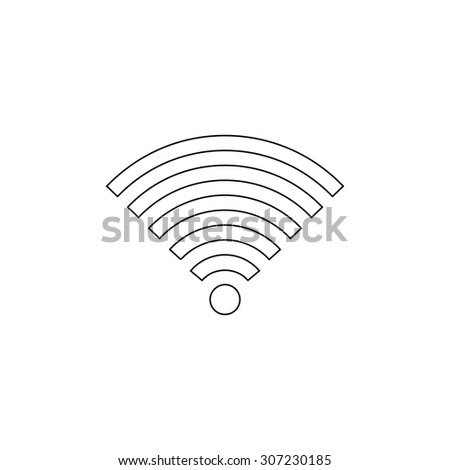 Wireless Network. Outline black simple symbol - stock photo