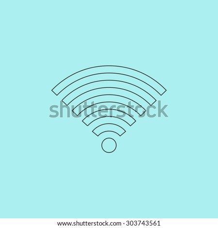 Wireless Network. Outline simple flat icon isolated on blue background - stock photo