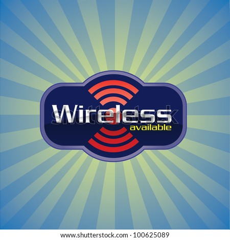 Wireless or WiFi available glossy icon - raster version - stock photo