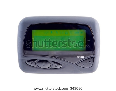 Wireless pager with a blank screen used to send and receive email,messages,sports,financial,and weather news. Isolated. - stock photo