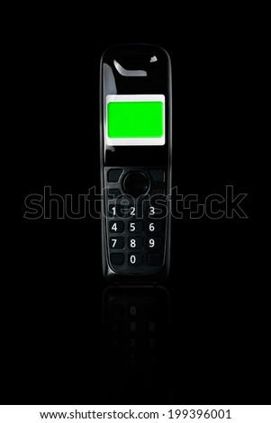 Wireless phone, Cordless phone with green screen display and reflection on black background. - stock photo