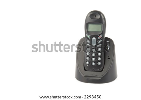 Wireless phone over white background - stock photo