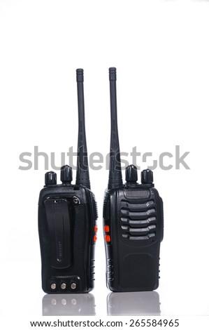Wireless Radio Communication on white with reflection - stock photo