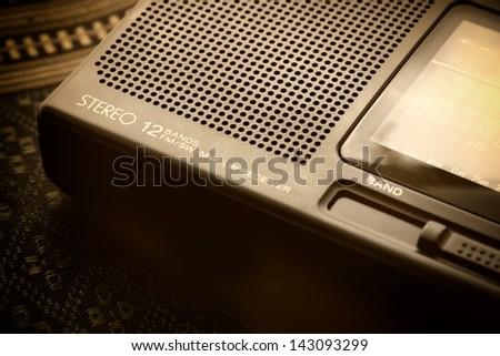 Wireless radio sepia image. - stock photo