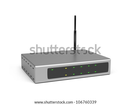 Wireless router. 3d image. Isolated white background. - stock photo