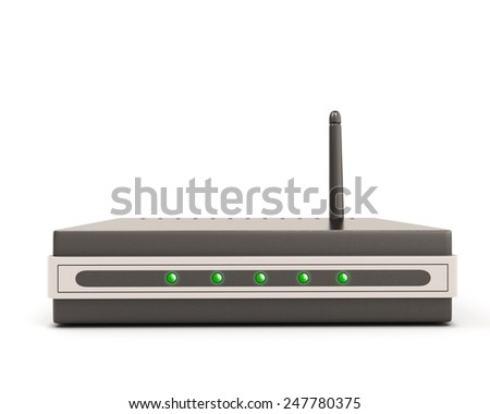 Wireless router front view isolate on white background. - stock photo