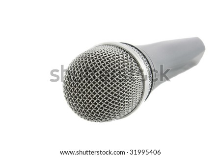 Wireless silver microphone isolated over white background