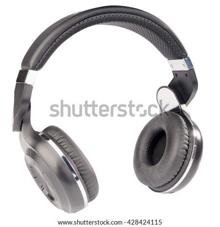 Wireless stereo headphones isometric view isolated on the white